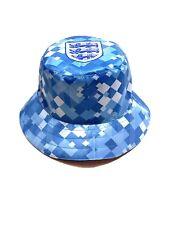 England 1990 Blue Away Retro Football Shirt Inspo Bucket Hat Reversible Upcycled