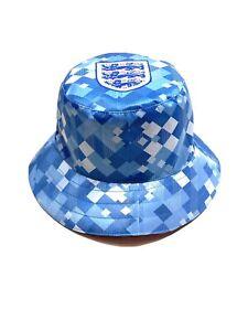 England 1990 Blue Away Retro Football Shirt Inspo England Football Bucket Hat