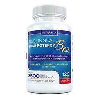 Fast Dissolving B12 2500 mcg Methylcobalamin Fruit Punch 120 Sublingual Tablets
