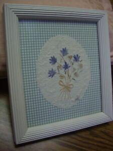 "1999 Artwork by Interia/Dried Flowers/White Wood Frame/7.5"" x 8"""