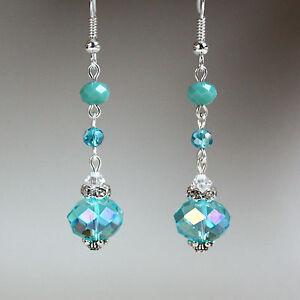 Turquoise blue crystal vintage silver long drop earrings wedding bridesmaid gift