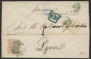 Espagne: Pli de 1870 en avec timbre 12 Cuartos Oblt petit CàDate verte VALENCIA