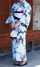 Japanese Women's Traditional YUKATA KIMONO Obi Sandal Set JAPAN 10 Blue E-a