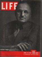 Life Magazine April 23 1945 President Truman Vintage WWII Ads 082019AME