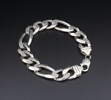 "Mens Chunky Sterling Silver Figaro Chain Bracelet 8"" 15mm 66g BS1957"