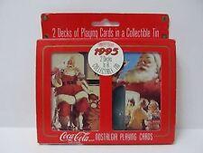 Playing Cards Coca Cola Nostalgia #334 Double Deck Santa Tin Case Sealed 1995