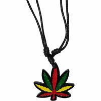 Rasta Cannabis Leaf Pendant Black Cord Necklace Chain Mens Womens Cool Jewellery