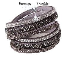 Grey Swarovski Elements Wrap Glamour Bracelet by Harmony Bracelets