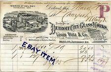 1891 DETROIT CITY GLASS WORKS Michigan LOUIS BLITZ Calvert Litho BILLHEAD