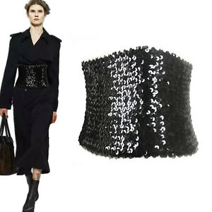Women Girl Sequins Black Shine bling Party Metallic Dress Corset Wrap Wide Belt