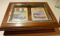 Nice Double Deck Vintage Cars Playing Cards in Wooden Card Box