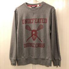 UNDEFEATED Double Cross Lacrosse Crewneck Grey Sweatshirt Men's Medium Rare