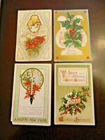 Lot of 4 Vintage Christmas Greeting Old Postcards 1910-12 Holly Poinsettias