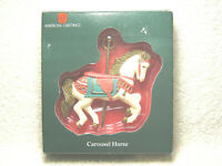 VINTAGE AMERICAN GREETINGS AX-1035 CAROUSEL HORSE CHRISTMAS ORNAMENT IN BOX NICE