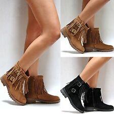 New Women FDay Black Tan Fringe Vegan Suede Western Ankle Booties Low Heel Boots