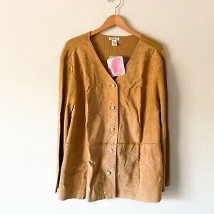Silhouette NWT Genuine Leather Sweater Blouse Button Down Size 2X Women