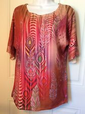 Jane Ashley Casual Womens Top Embellished Orange Purple Reds Small 3/4 Sleeve
