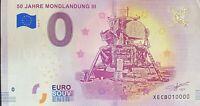 BILLET 0  EURO 50 JAHRE MONDLANDUNG III ALLEMAGNE    2018  NUMERO 10000 DERNIER