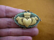 (CM38-77) traditional CLADDAGH heart hands blue CAMEO flower brass Pin Pendant