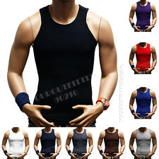 Men's Tank Top T-Shirt Slim Muscle Casual Ribbed Sleeveless Gym Fashion A-Shirt