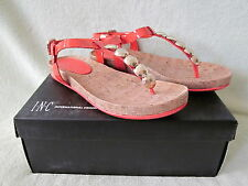 INC Susan 8M Coral Patent Leather Thong Sandal Cork Footbed NIB Really Cute !!