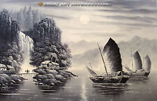 """""""River Scene"""",  Chinese Oil Painting, Black & White, 25""""x36"""""""