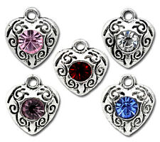 10 ANTIQUE SILVER ASSORTED CRYSTAL HEART CHARMS/PENDANT 10mm x12mm WEDDING(38A)