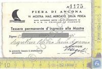 Fiera di Ancona - VI Mostra della Pesca - Tessera Ingresso Permanente - 1940