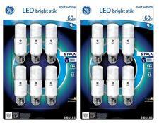 GE Bright Stik LED 60W Soft white General Purpose Light Bulb (12-Pack)