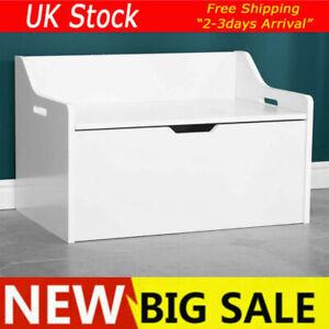 Large White Wooden Kids Toy Chest Organiser Storage Box Nursery Seat Unit New