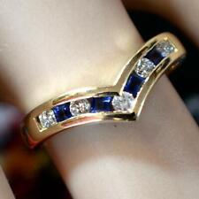 14 ct GOLD second hand diamond & sapphire ring
