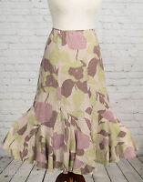 Monsoon Skirt Long Pink & Green Floral Fishtail Flippy Hem Maxi Size 10 Linen
