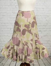 Monsoon Skirt Long Pink & Green Floral Fishtail Flippy Hem Maxi Size 10 Linen
