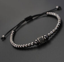 Fashion Man's Rhodium Plated Zircon Roundel Beaded Macrame Bracelet Friendship
