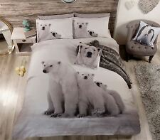 Christmas Polar Bear Family White Grey King Size Cotton Blend Duvet Cover
