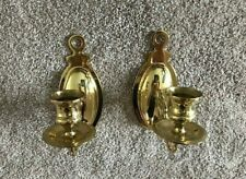 """Polished Brass Wall Sconce Candle Stick Holders 6 1/2"""" Tall"""