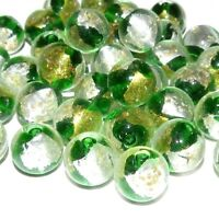G3237 Green w Gold & Silver Foil 14mm Round Handmade Lampwork Glass Beads 10pc