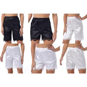 Women Pettipants Half Slip Bloomer Shorts Lace Trim Pumpkin Pant Satin Slip Pant