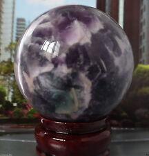 80mm purple Glow In The Dark Stone crystal Fluorite sphere ball