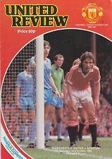Football Programme>MAN UTD v ARSENAL Oct 1980