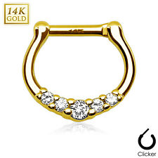 1 Pc 14g 14K Solid Gold 5 Clear CZ Gems Septum Clicker Nose Ring Piercing