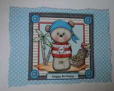 PK 2 PIRATE BEAR *HAPPY BIRTHDAY* EMBELLISHMENT TOPPERS FOR CARDS/CRAFT
