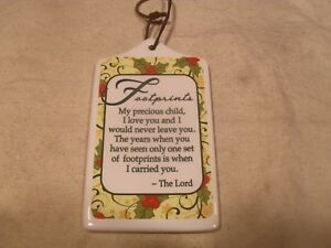 "Décor Ceramic Wall/Tabletop Plaque ~ ""Footprints My precious child…"""