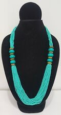 Brand New Handmade Costume Boho Chic Turquoise Tribal Bead Necklace