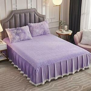 JAUXIO Diamond Quilted Velvet Bedspread Three Sides 18 Inches Deep Ruffles Dr...