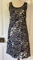 Gorman size 8 / Xs Black Grey Shift Dress round neck sleeveless knee length ligh