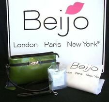 """NEW ~ Beijo """"Stepping Out"""" Shoulder Bag/Wristlet Moss Green w/Photo Cards $79"""