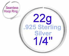 """22g Very Thin 1/4"""" 6mm .925 Sterling Silver Seamless Hoop Ring Nose Cartilage"""