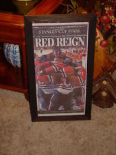 MAN CAVE CHICAGO BLACKHAWKS NEWSPAPER FRAMED 2015 CHAMPIONS SPECIAL SECTION