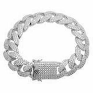 """Custom White Cz 14K White Gold Over Real Silver """"Colt Cuban"""" Icy Bracelet"""